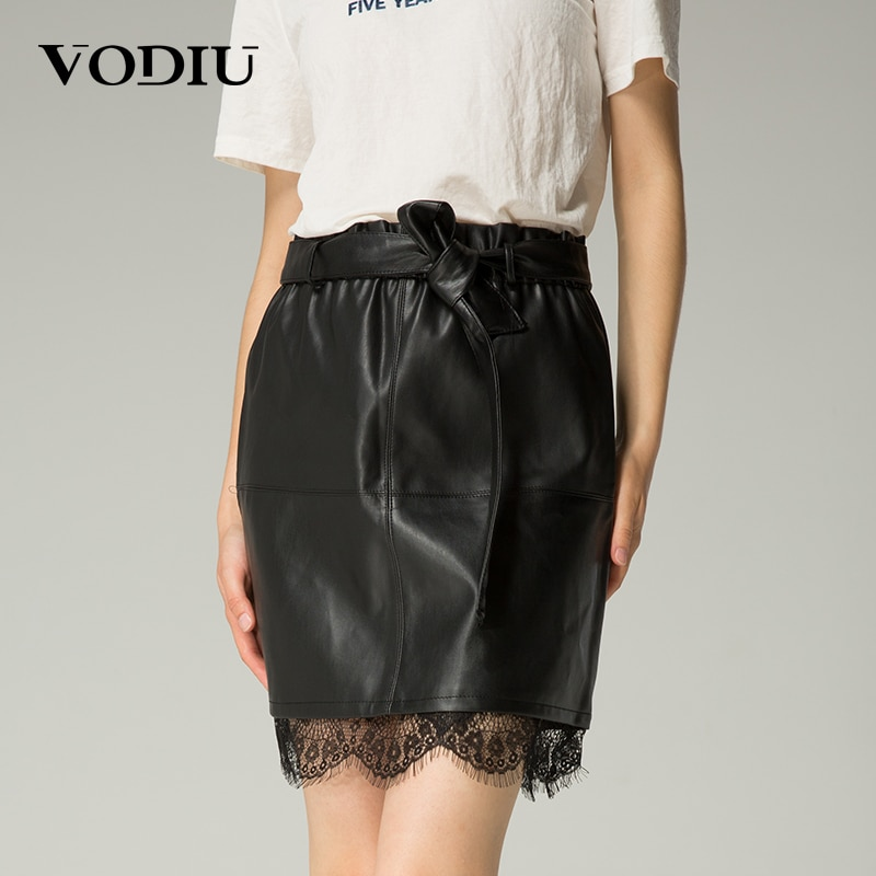 Vodiu Midi Skirt Leather Skirt Lace Black Sashes Elastic Waist A Line Skirts Womens High Quality European Style Ladies Pleated