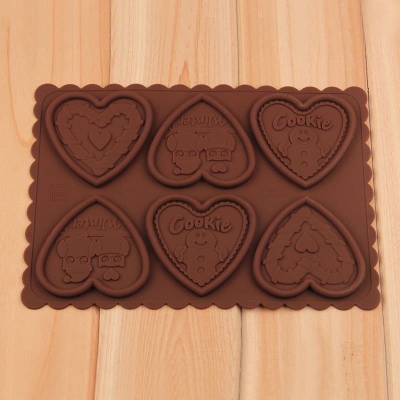 Envío Gratis FDA de gran calidad amor corazón silicona impresora de galletas molde para hornear set