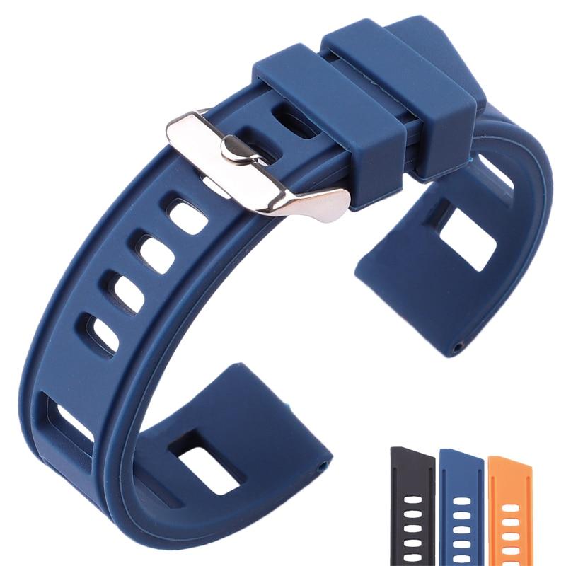 AliExpress - Rubber Watch band Strap 20mm 22mm Orange Blue Black Women Men Waterproof Soft Silicone Watchbands Bracelet With Polished Buckle
