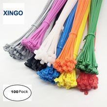 Xingo Cable Zip Ties Self-Locking 300mm Loop-Wrap Colored-Cable Nylon Plastic 100pcs
