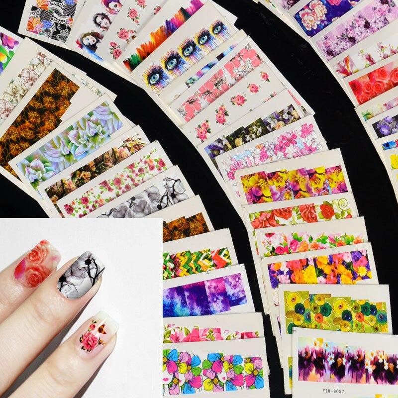 54 шт. разноцветные наклейки для ногтей, переводные наклейки для ногтей с цветами, наборы стикеров для гель-лака, наклейки для маникюра