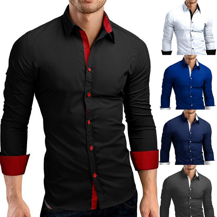 Camisas para hombre, camisa coreana aloha de manga larga, camisa Casual ajustada sólida, Camisa ajustada con cuello vuelto, manga de otoño, moda para hombres