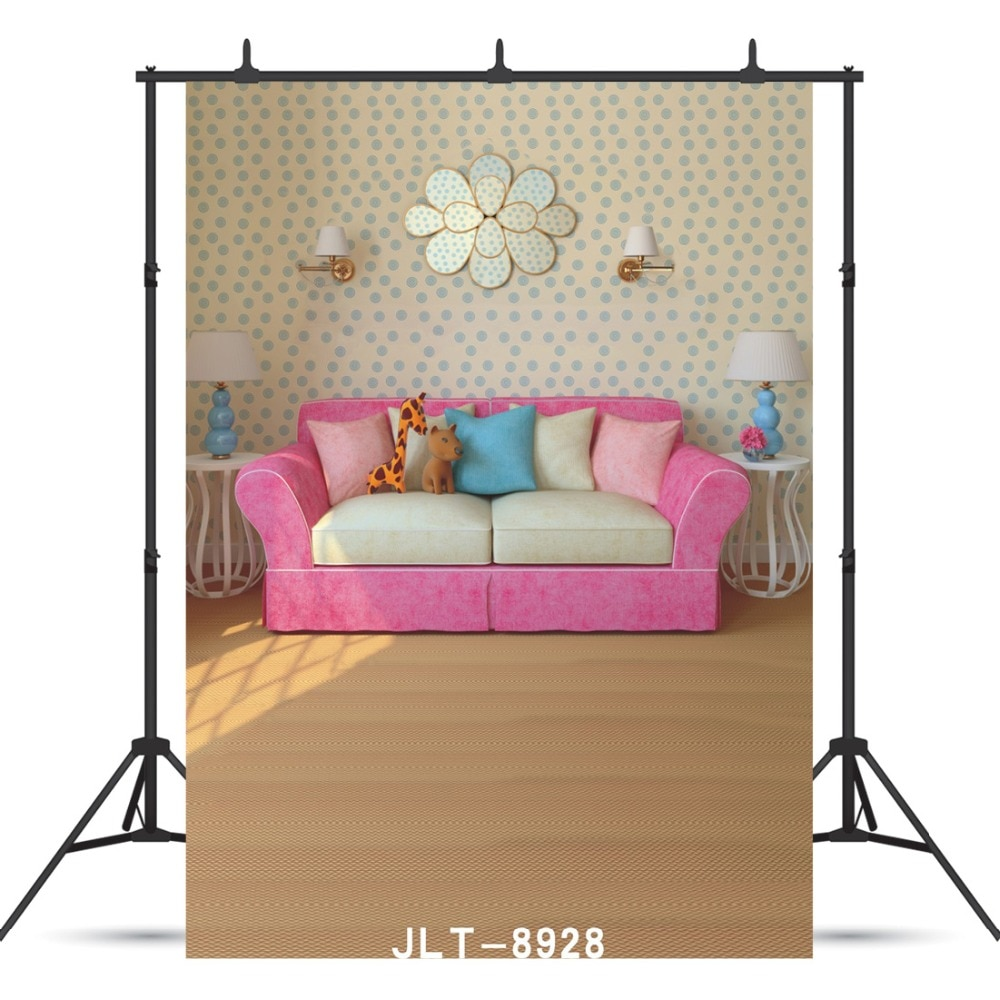 Pink Sofa Pillow Floor Vinyl Photographic Background Custom For Baby New Born Shower Children Portrait Backdrop Photocall Studio