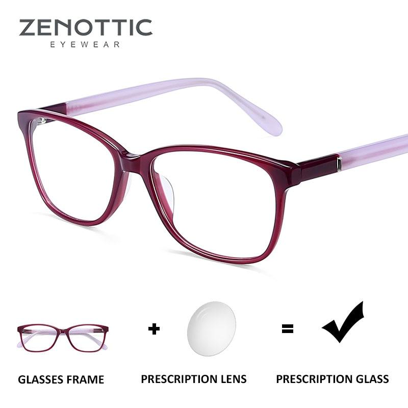 ZENOTTIC receta de acetato gafas mujer gafas ópticas de Cuadrado coreano gafas claro lentes para miopía computadora gafas BT3019