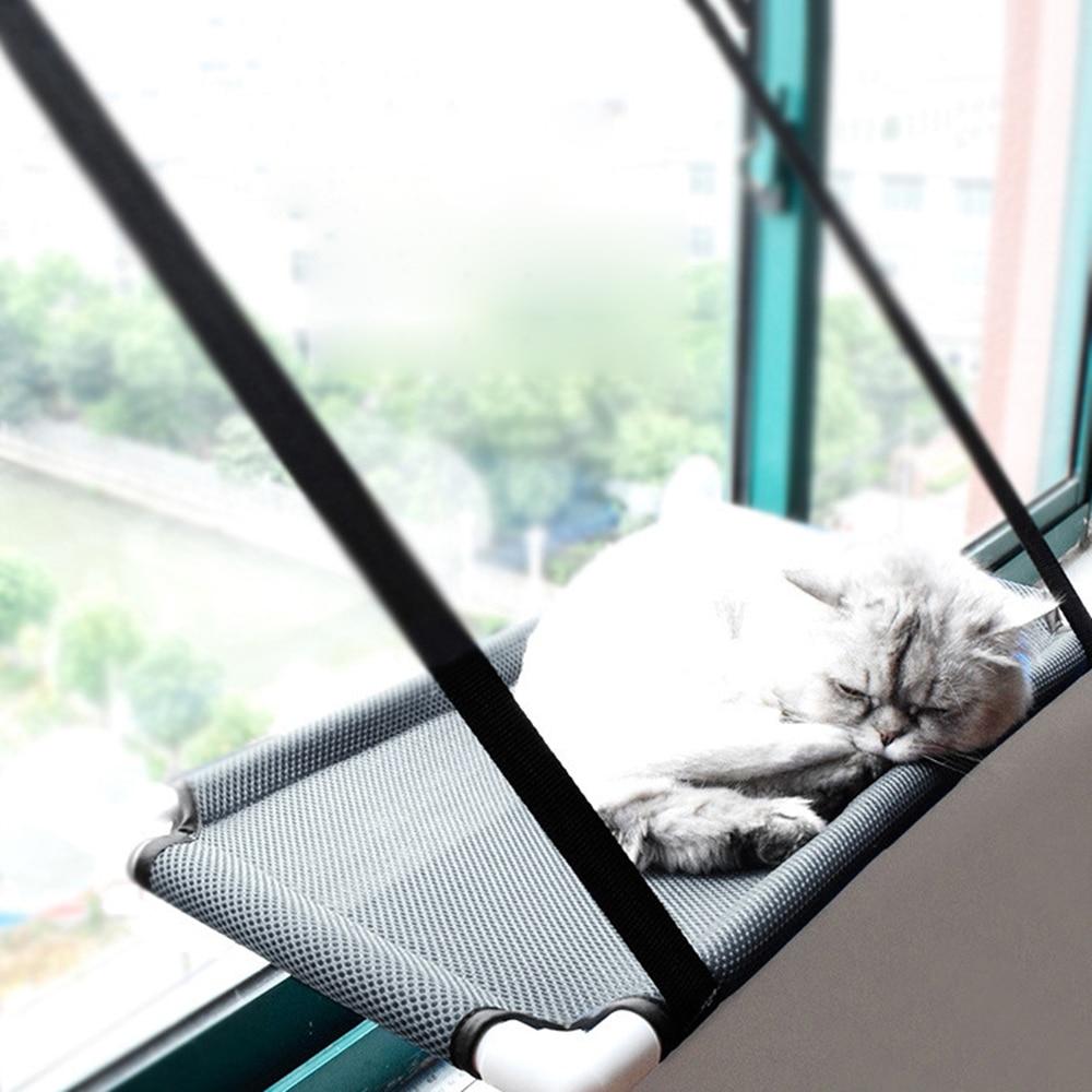 Nuevo lindo gato percha ventana Asiento Sandwich malla hamaca verano Cattery con tapa de succión para gatos domésticos descanso Sun Bask