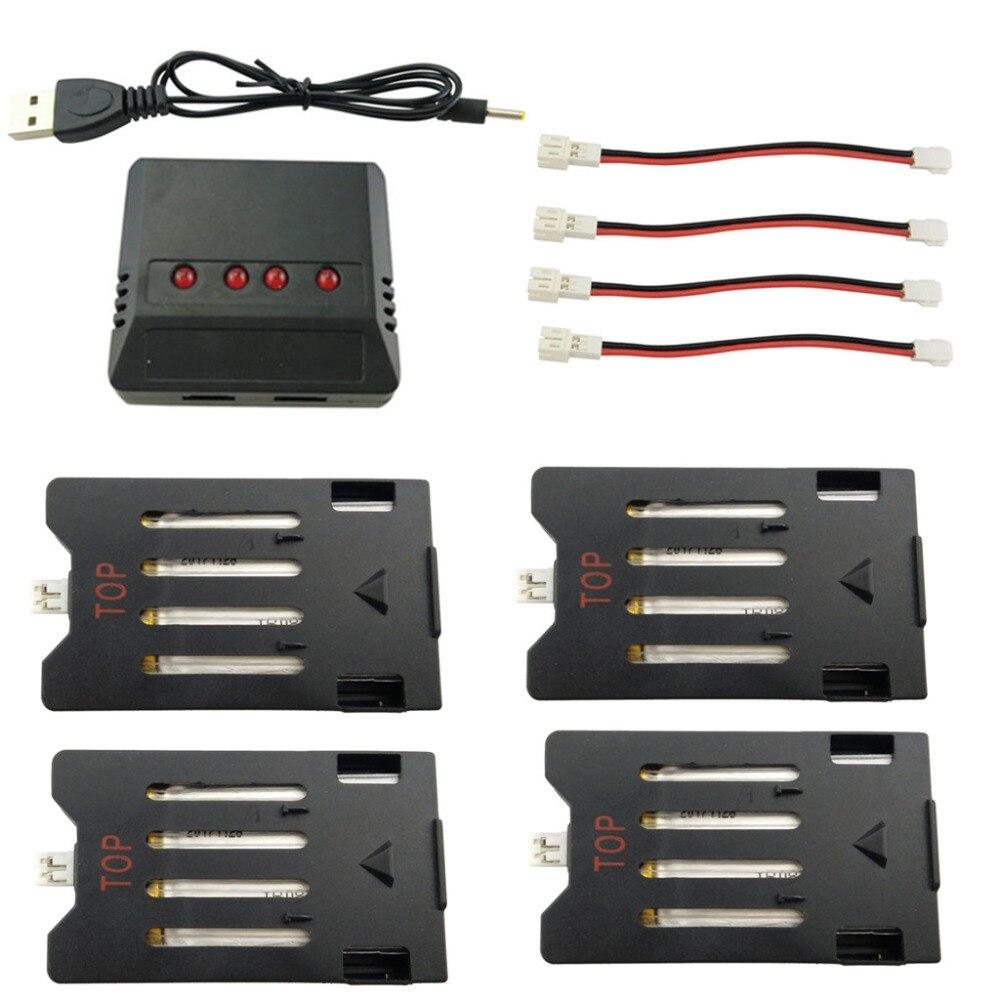 Batería de litio 4 Uds 3,7 V 600mAh con cargador 4 en 1 para Heliway 903 903HS HS150 batería de litio de cuatro ejes