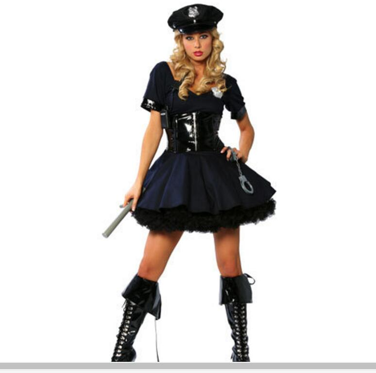Uniforme de policía Sexy para mujer, disfraz de policía sucio con esposas, disfraz de policía marinero Sexy para Halloween