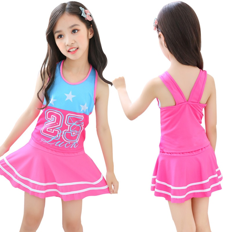 Crianças roupas de banho meninas bonitos verão maiô um pieces fatos de banho das crianças da saia de natação princesa crianças vestido de praia beachwear