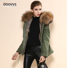 Femmes hiver chaud marron réel fourrure de lapin magnifique armée vert manteau livraison gratuite dernières nouveauté