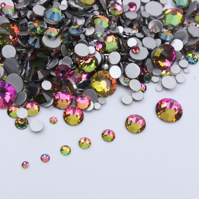 SS3-SS30 de cristal de diamantes de imitación de Super brillo 1200 Uds. Arcoíris tamaño mixto Cristal de fijación en caliente FlatBack Nail Art Rhinestone envío gratis