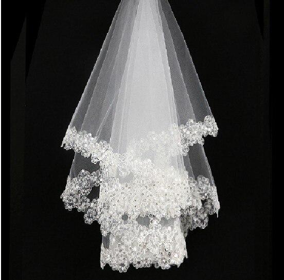 Accesorios de boda velos de novia cortos sin peine velo de encaje blanco velos de novia baratos de alta calidad