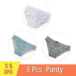 3Pcs /Pack Women Cotton Briefs Print Panty Low-Rise Panties Female Lace Underwear Pants For Ladies Size S-M-L-XL