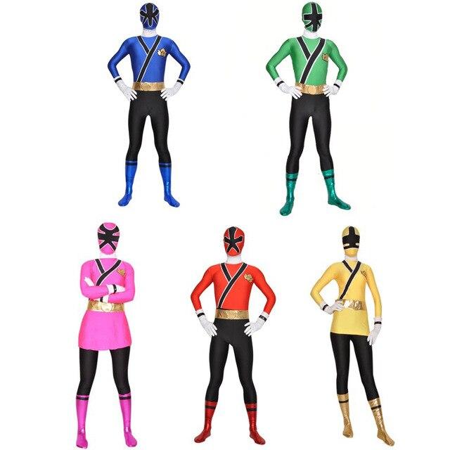 Los niños de Samurai Sentai traje de shinkenger Lycra Samurai Rangers Cosplay Halloween Rojo/Rosa/azul/verde/amarillo traje de Ranger
