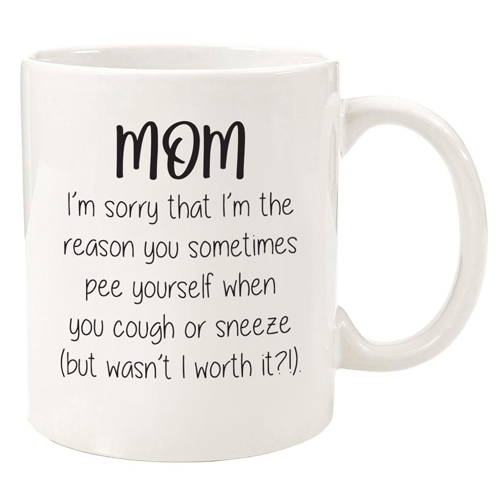 Taza de café de 350ml cerámica divertida papá mamá carta impresa té cerveza porcelana taza caliente