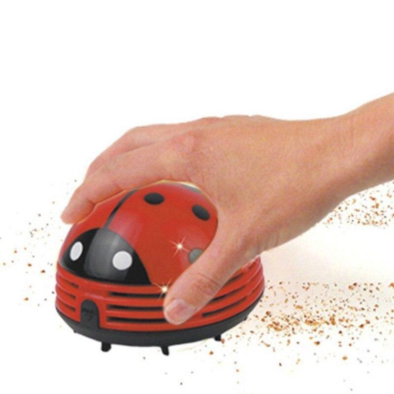 Mini discoteca escarabajo rojo en forma de esquina portátil escritorio Mesa aspiradora Mini aspiradora adorable aspiradora de polvo para el hogar