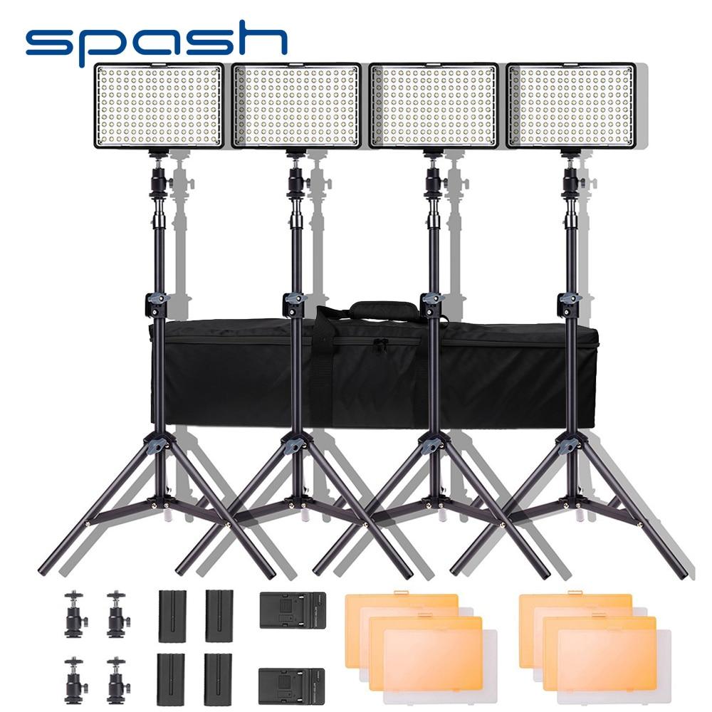 Spash TL-160S LED الفيديو الضوئي عدة التصوير الإضاءة مع موقف NP-F550 بطارية عكس الضوء 3200K/5600K 160 مصباح LED للاستديو هات مصباح