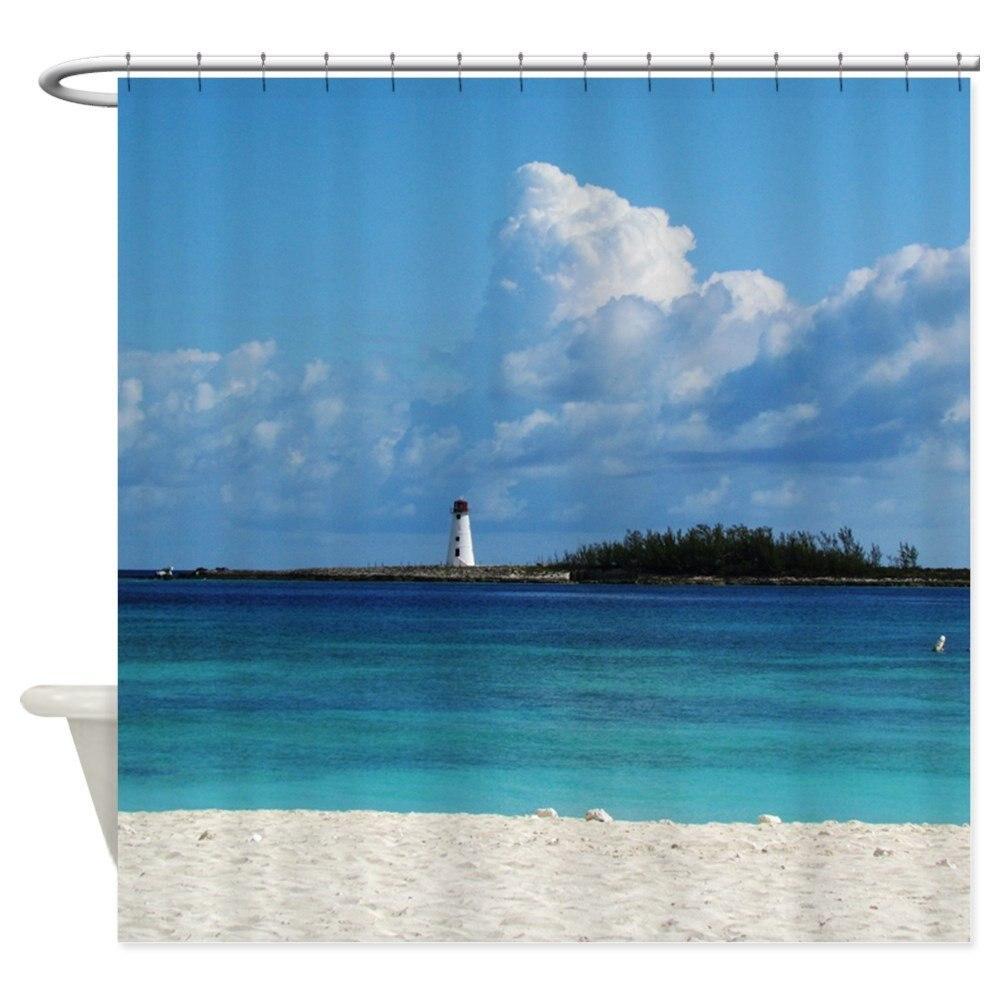 "Cortina de ducha para el faro de la playa de Nassau, de tela decorativa (69 ""x 70"")"