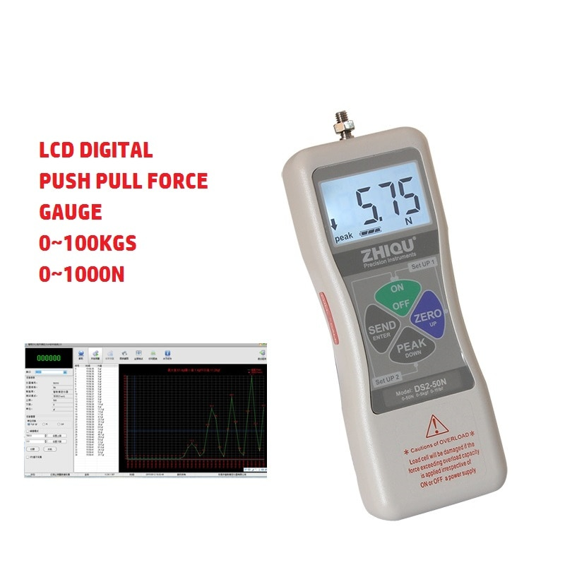Высокоточный цифровой ЖК дисплей толкатель 500N 50 кг Натяжной тестер маленький