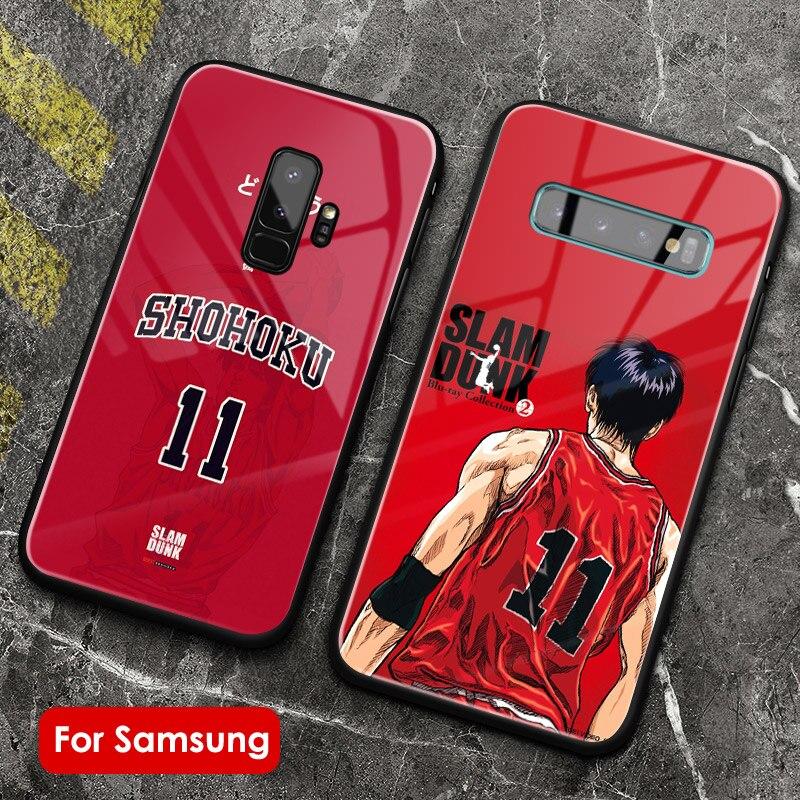 Slam dunk anime mangá capa de telefone vidro silicone macio para samsung galaxy s7 s8 s9 s10e s10 s20 ultra plus nota 8 9 10 plus