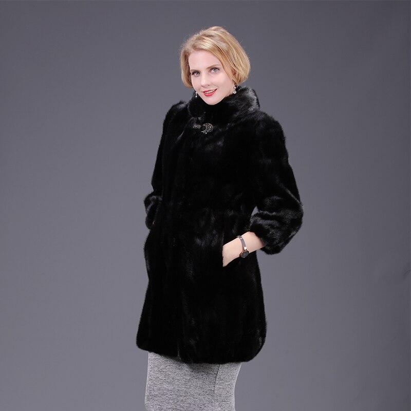 2021 new real mink fur fox fur coat jacket high aquality black solid women natural fur coat thick warm street style
