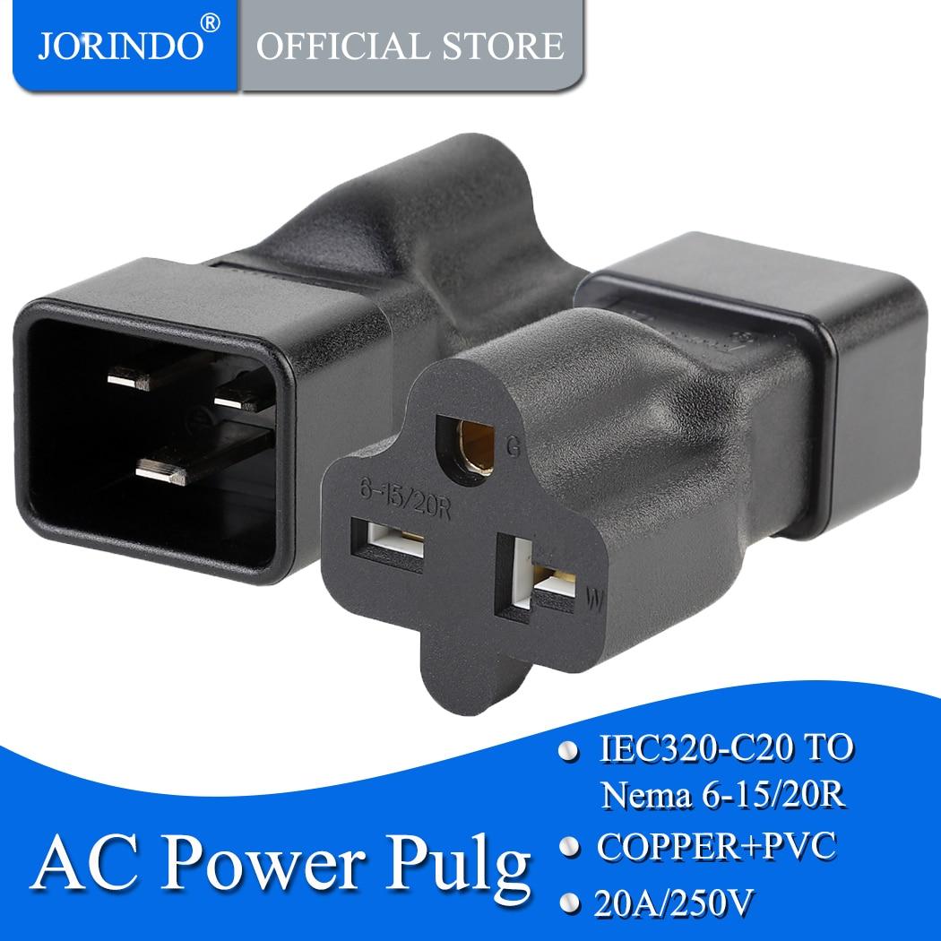 JORINDO IEC320 C20 a 6-15R... C20 20Amp a T hoja 20Amp AC Cable PDU UPS macho a Nema 6-20R 20Amp AC adaptador de alimentación C20 a 6-20R