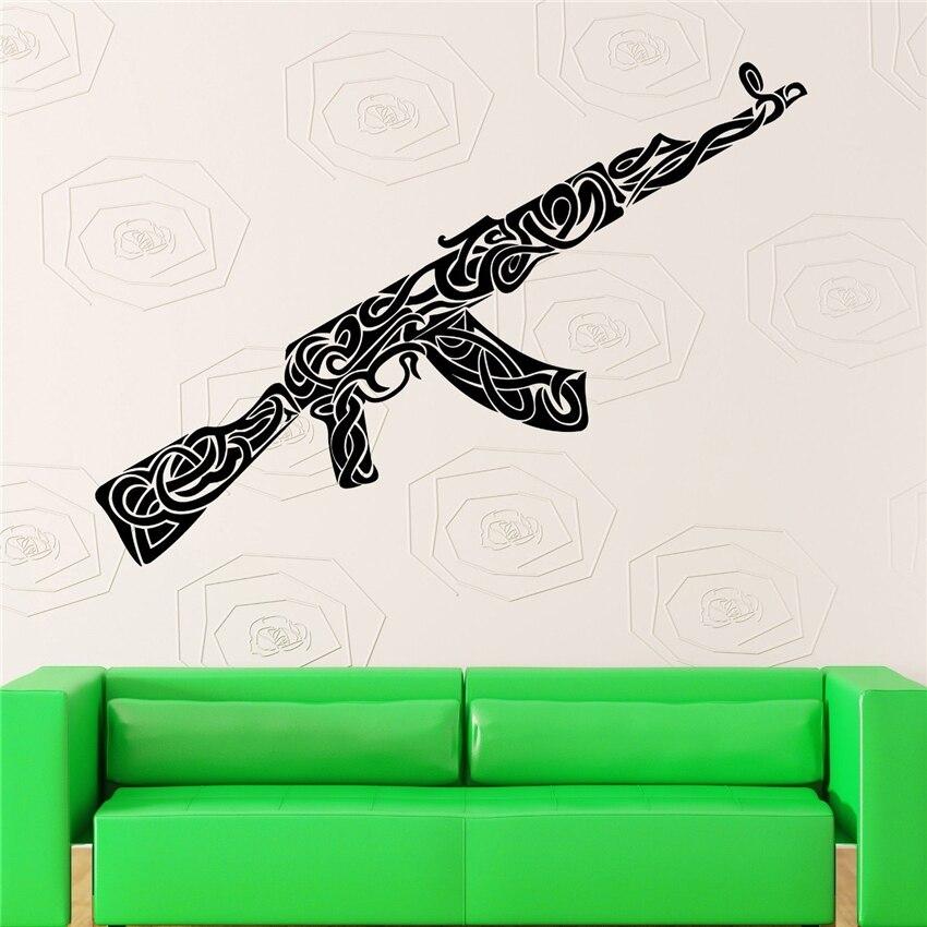 Stickers muraux vinyle décalque guerre armes militaire Ak-47 motif décor Art décor décor à la maison amovible vivant autocollant mural U403