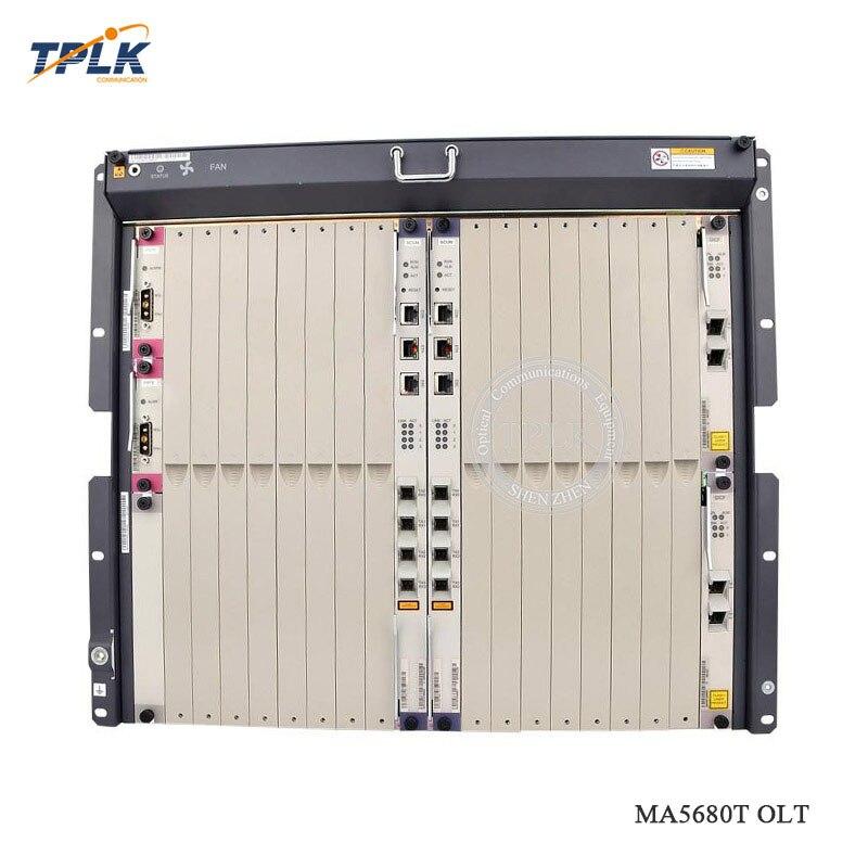 Alta calidad Original HUA WEI GPON OLT MA5680T con 2 * SCUN + 2 * PRTE + 2 * X2CS y una de 8 Placa de puertos GPBD C + + y otros accesorios