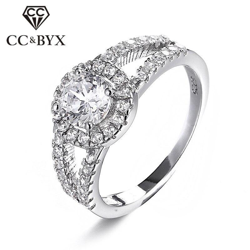 S925 anillos de moda Zirconia cúbica anillo de Color plateado Anillos de Compromiso de boda Vintage para mujeres Bijoux Bagues CC022