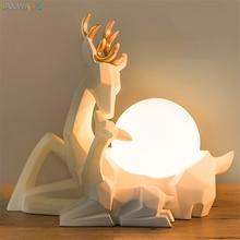 Nordic Origami Cute Elk LED Table Lamps Desk Lights Bedroom Princess Room Table Lamps Children Desk Lamps Room Christmas Decor