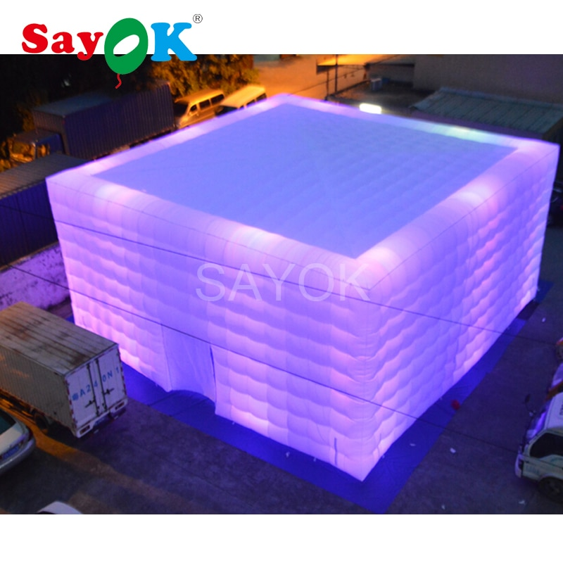 Lighted Inflatable Marquee Inflatable Air Cube Tent  Room Foldable Outdoor Camping for Commercial Advertising Party Decoration