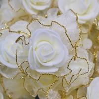 20pcs 4cm Glitter Fringe Silk Foam Flowers DIY Handmade Artificial Rose Flower Heads for Wedding Tutu Decoration Head Flowers