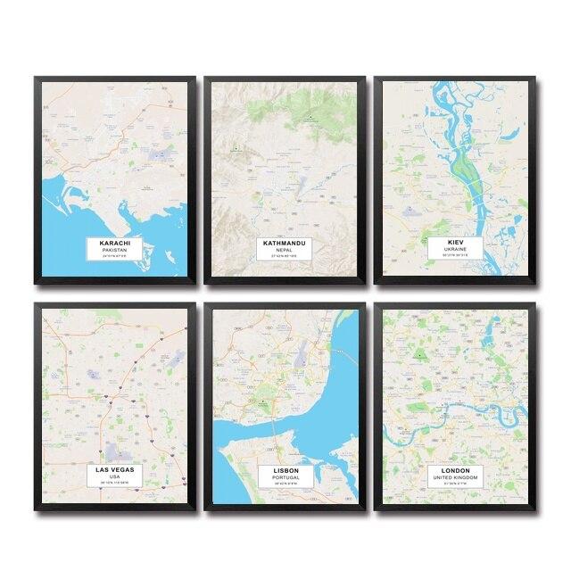 Karachi Kathmandu Kiev Lagos LAS VEGA LISBO Ливерпуль LONDO City Maps художественный холст постер домашний декор для стен картина 20X30 дюймов