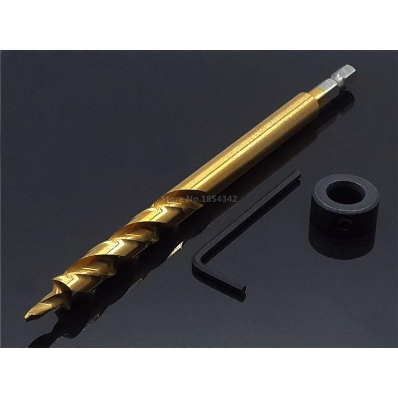 """9,5mm 3/8 """"de broca de taladro en espiral + profundidad parar Collar + conjunto de Llaves hexagonales para Kreg Kit con portapiezas con orificios de corriente guía de herramientas"""