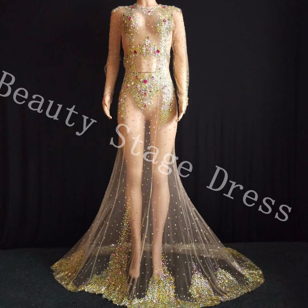 Multi-color Crystals Respective Long Train Dress Super luxurious Big Tail Evening Costume Wedding Celebrate