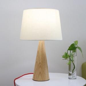 Creative bedroom rubber wood E27 bulb desk lamp nordic minimalist home deco DIY Japanese white fabric lampshade desk table lamp