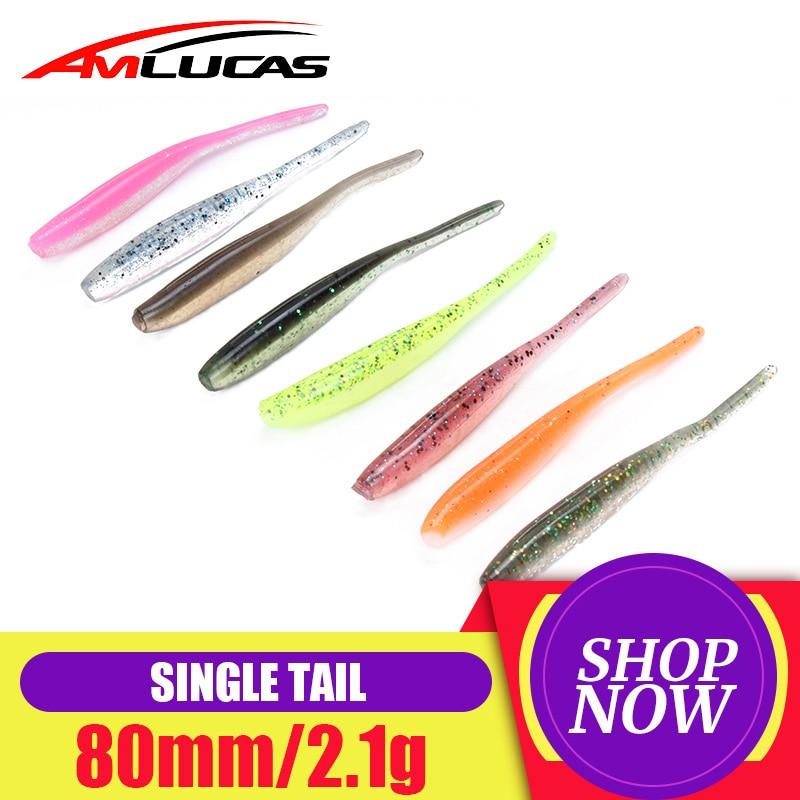 Amlucas 8 шт./лот 80 мм, 2,1 Г, мягкая рыболовная приманка, искусственная приманка, приманка, двухцветная рыба, приманки на окуня, свимбейты WW1221