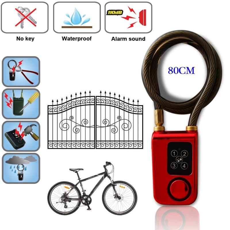RAYKUBE Electric Digital Door Lock With Wire Rope Smart Lock Waterproof Home Anti Theft Lock With 110dB Alarm For Door & Bicycle