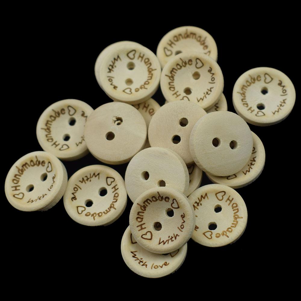 Botones de Color Natural de madera 100 Uds. De 15/20/25MM, botón de madera de artesanía hecho a mano con letras Love, accesorios para ropa de bebé DIY