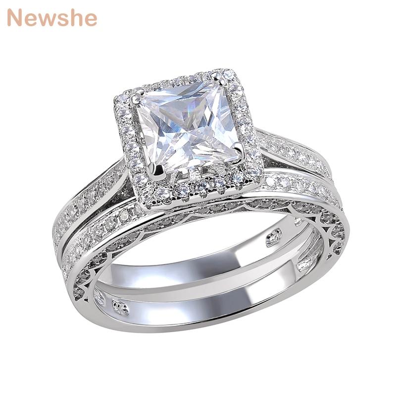 Newshe 2 قطعة خاتم الزواج مجموعة مجوهرات الكلاسيكية الأميرة قص AAAAA تشيكوسلوفاكيا 925 فضة خواتم الخطبة للنساء حجم 5 إلى 12