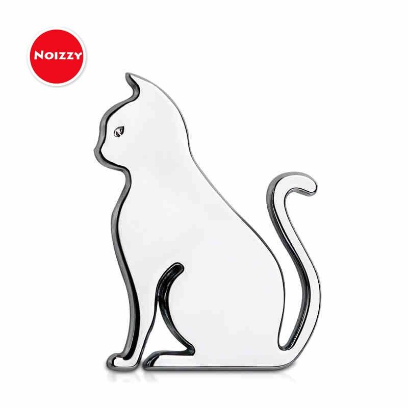 NOIZZY 2019 moda gato mascota encanto gatito coche autoadhesivo emblema negro 100% Metal 3D insignia cromado motocicleta afinación estilo
