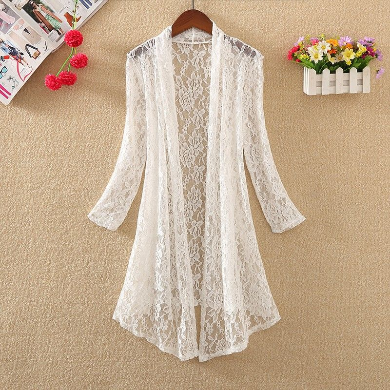 Cárdigan de encaje 2019 cárdigan largo de verano para mujer de talla grande XXXL 4XL Kimono camisa blanca Blusa de manga larga cárdigan coreano rosa