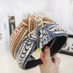 Handmade Beaded Headband Bohemian Headwrap Women Top Kont Hairband Headwear Hair Accessories Fashion