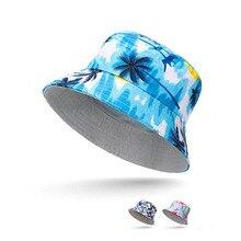Spring Summer Bucket Hat Men Women Sun Caps Flat Top Fishing Hats Flower Camouflage Coconut tree Travel Hats Unisex