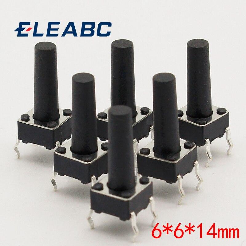 50 pçs/lote 6x6x14MM 4PIN G97 Tátil Tact Botão Micro Interruptor Direta Auto-Reset DIP Top Rússia Cobre