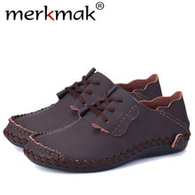 Merkmak Genuine Leather Men's Boat Shoes 2018 Spring Casual Outdoor Men Flats Handmade Breathable Loafer Big Size 38-50 Footwear
