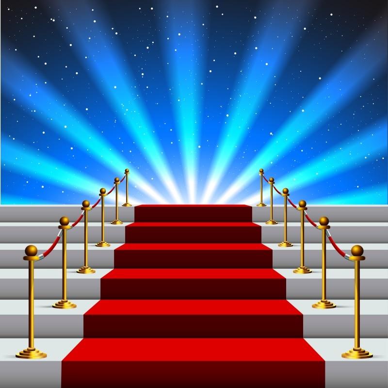 Laeacco palco tapete vermelho backdrops escada superstar spotlight festa de aniversário do bebê foto fundos photocall photo studio