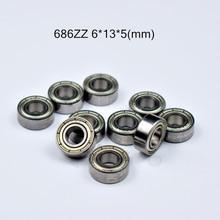 686ZZ 6*13*5(mm) 10pieces free shipping  ABEC-5 bearings metal Sealed Miniature Mini Bearing 686 686Z 686ZZ chrome steel bearing