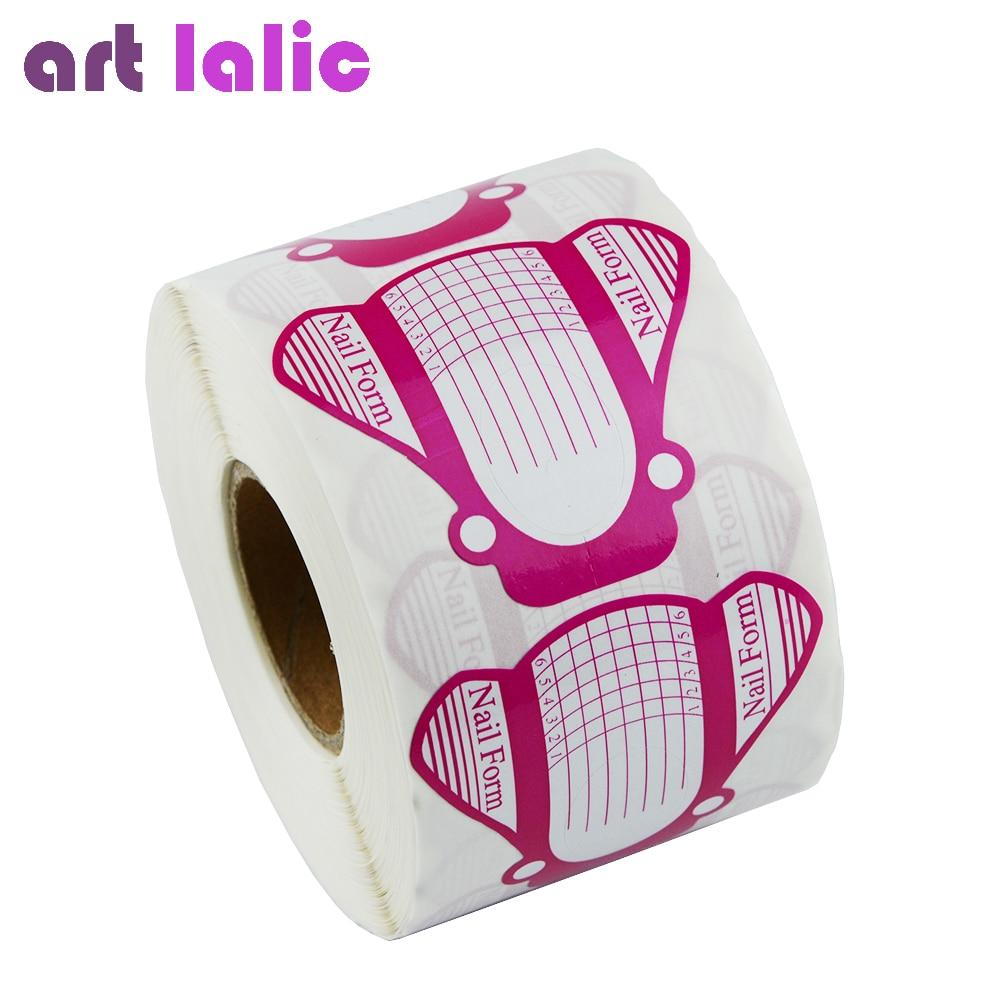 Artlalic 500 Pcs/Set Nail Forms Tips Acrylic Gel Extension Sticker Professional Nail Polish Curve Nail Art Guide Form
