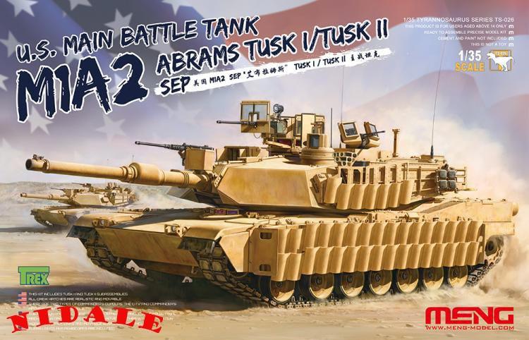 NIDALE Model TS-026 1/35 U.S. Main Battle Tank M1A2 SEP Abrams Tusk I/Tusk II plastic model kit Christmas gifts