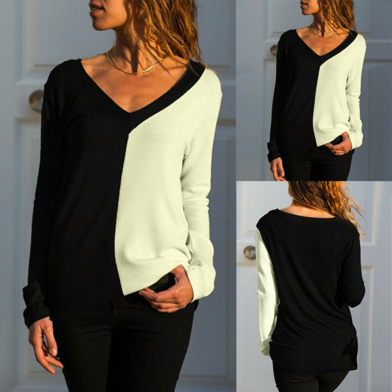 Women Loose V-Neck Long Sleeve Splicing Ladies Casual Tops T-Shirt Blouse